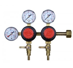 Taprite Brand CO2 Beer Regulator, Dual Body, Three Gauge